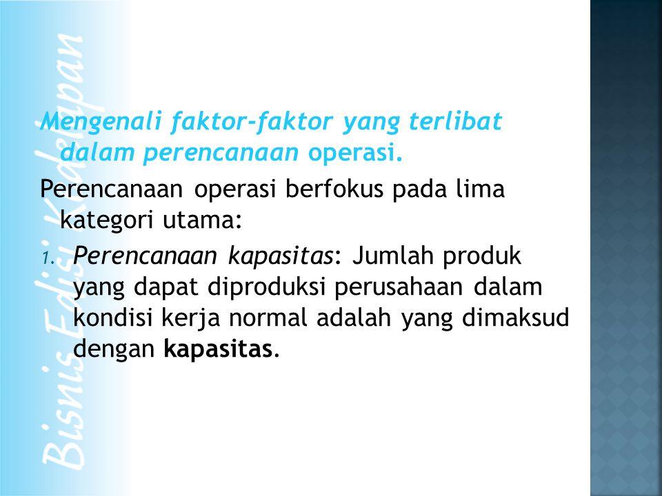Mengenali faktor-faktor yang terlibat dalam perencanaan operasi. Perencanaan operasi berfokus pada lima kategori utama: 1. Perencanaan kapasitas: Juml