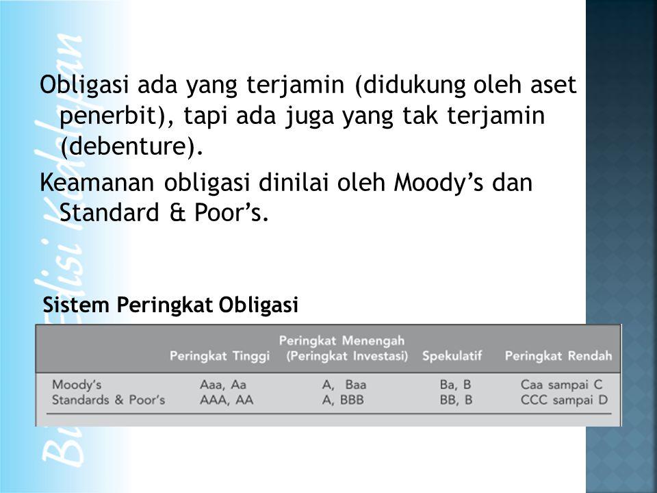 Obligasi ada yang terjamin (didukung oleh aset penerbit), tapi ada juga yang tak terjamin (debenture).