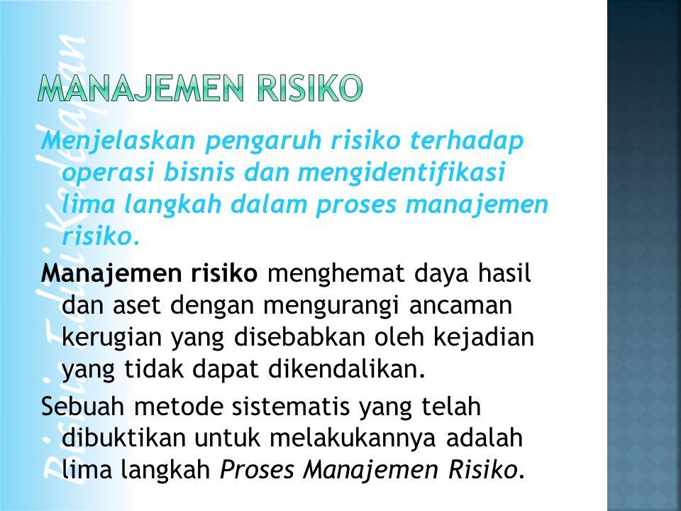 Menjelaskan pengaruh risiko terhadap operasi bisnis dan mengidentifikasi lima langkah dalam proses manajemen risiko.