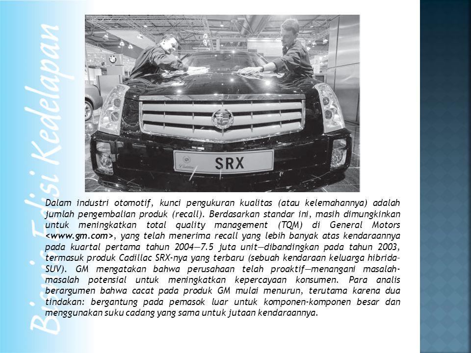Dalam industri otomotif, kunci pengukuran kualitas (atau kelemahannya) adalah jumlah pengembalian produk (recall). Berdasarkan standar ini, masih dimu