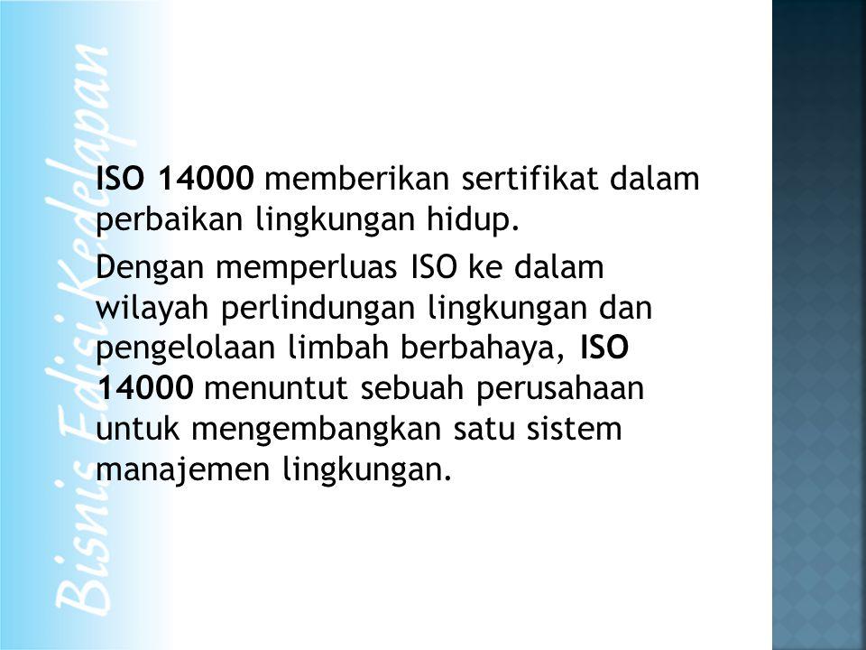 ISO 14000 memberikan sertifikat dalam perbaikan lingkungan hidup. Dengan memperluas ISO ke dalam wilayah perlindungan lingkungan dan pengelolaan limba