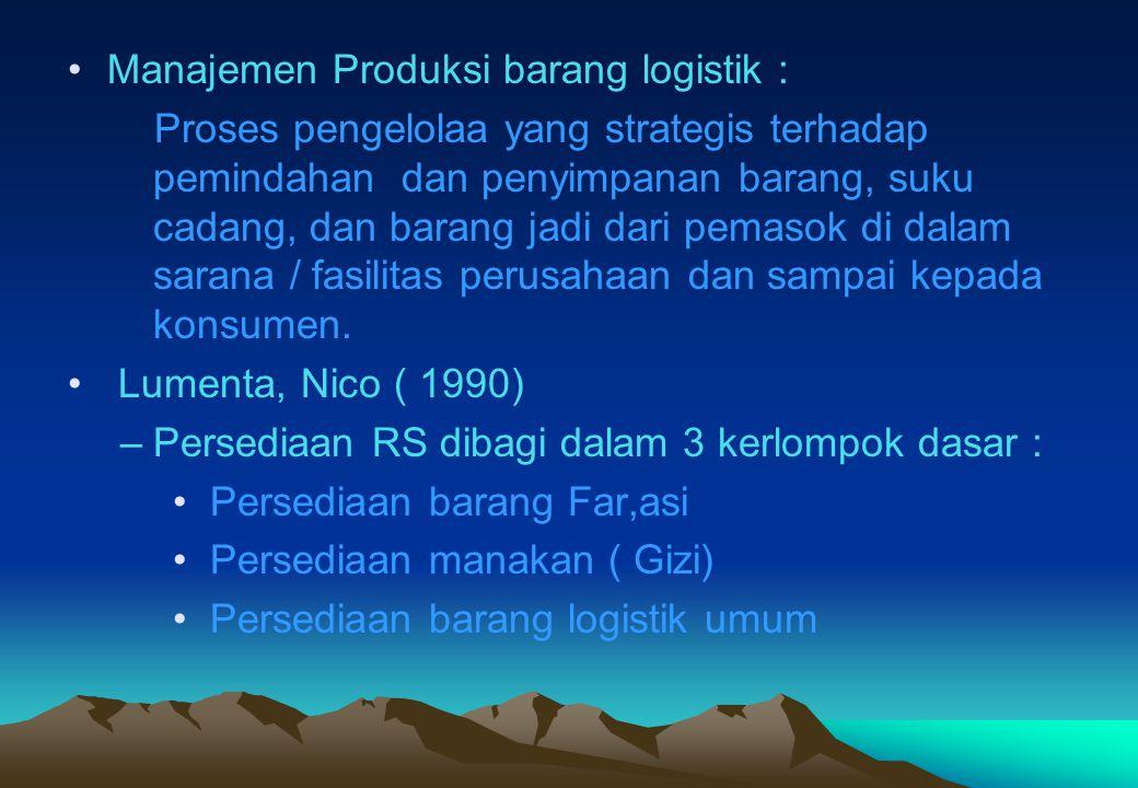 •Manajemen Produksi barang logistik : Proses pengelolaa yang strategis terhadap pemindahan dan penyimpanan barang, suku cadang, dan barang jadi dari p