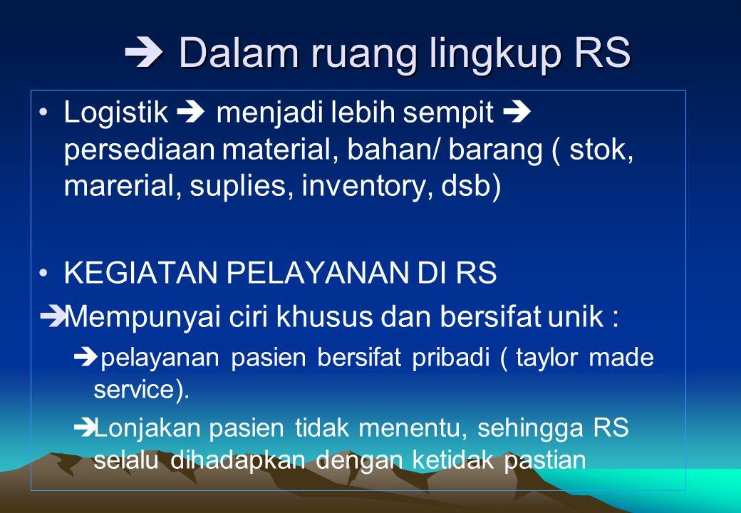  Dalam ruang lingkup RS •Logistik  menjadi lebih sempit  persediaan material, bahan/ barang ( stok, marerial, suplies, inventory, dsb) •KEGIATAN PE