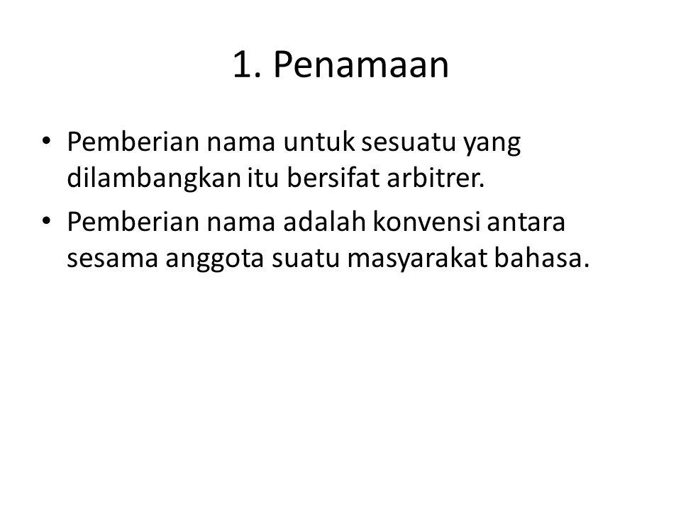 1.Penamaan • Pemberian nama untuk sesuatu yang dilambangkan itu bersifat arbitrer.