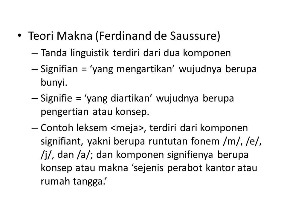 • Teori Makna (Ferdinand de Saussure) – Tanda linguistik terdiri dari dua komponen – Signifian = 'yang mengartikan' wujudnya berupa bunyi.