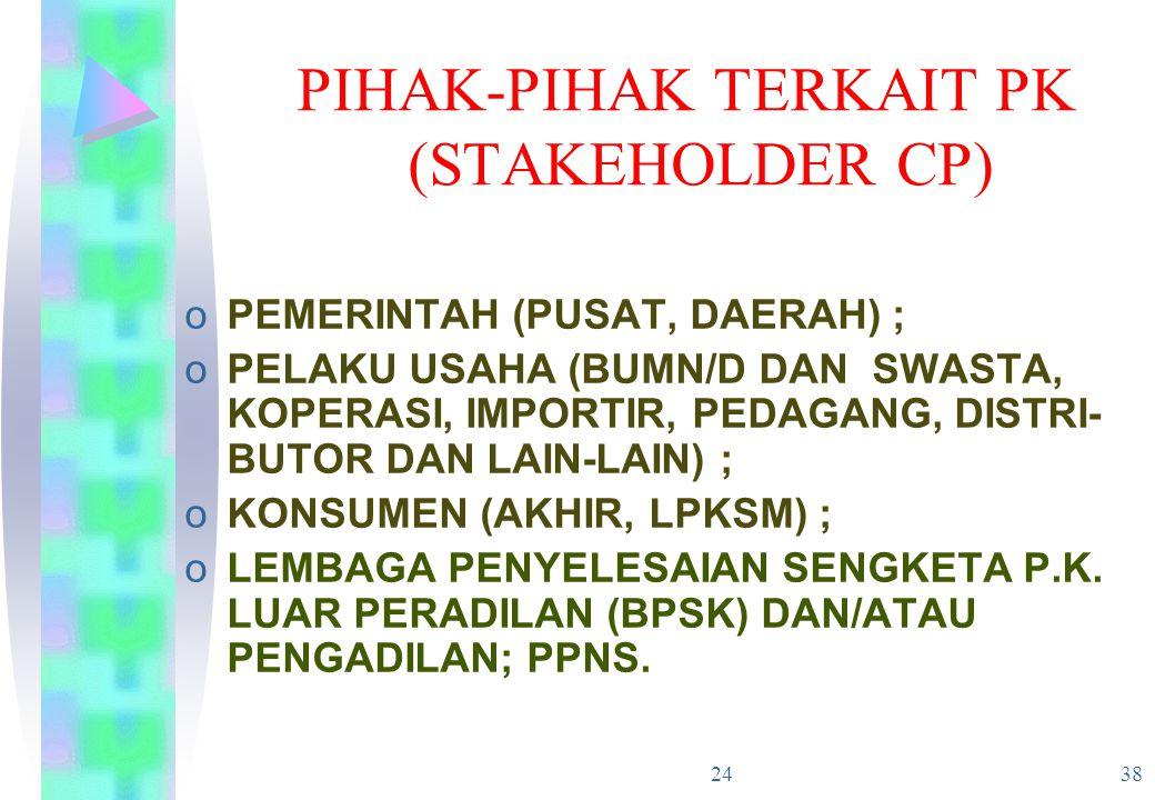 24 38 PIHAK-PIHAK TERKAIT PK (STAKEHOLDER CP) oPEMERINTAH (PUSAT, DAERAH) ; oPELAKU USAHA (BUMN/D DAN SWASTA, KOPERASI, IMPORTIR, PEDAGANG, DISTRI- BU