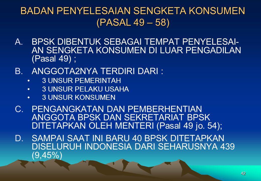 BADAN PENYELESAIAN SENGKETA KONSUMEN (PASAL 49 – 58) A.BPSK DIBENTUK SEBAGAI TEMPAT PENYELESAI- AN SENGKETA KONSUMEN DI LUAR PENGADILAN (Pasal 49) ; B
