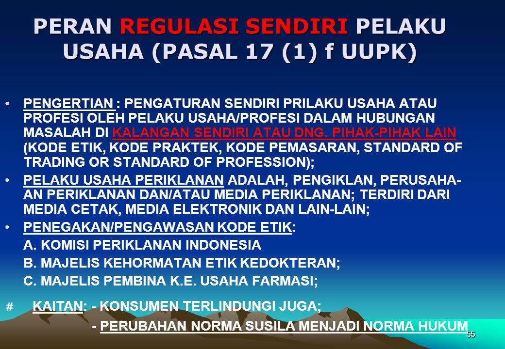 PERAN REGULASI SENDIRI PELAKU USAHA (PASAL 17 (1) f UUPK) •PENGERTIAN : PENGATURAN SENDIRI PRILAKU USAHA ATAU PROFESI OLEH PELAKU USAHA/PROFESI DALAM