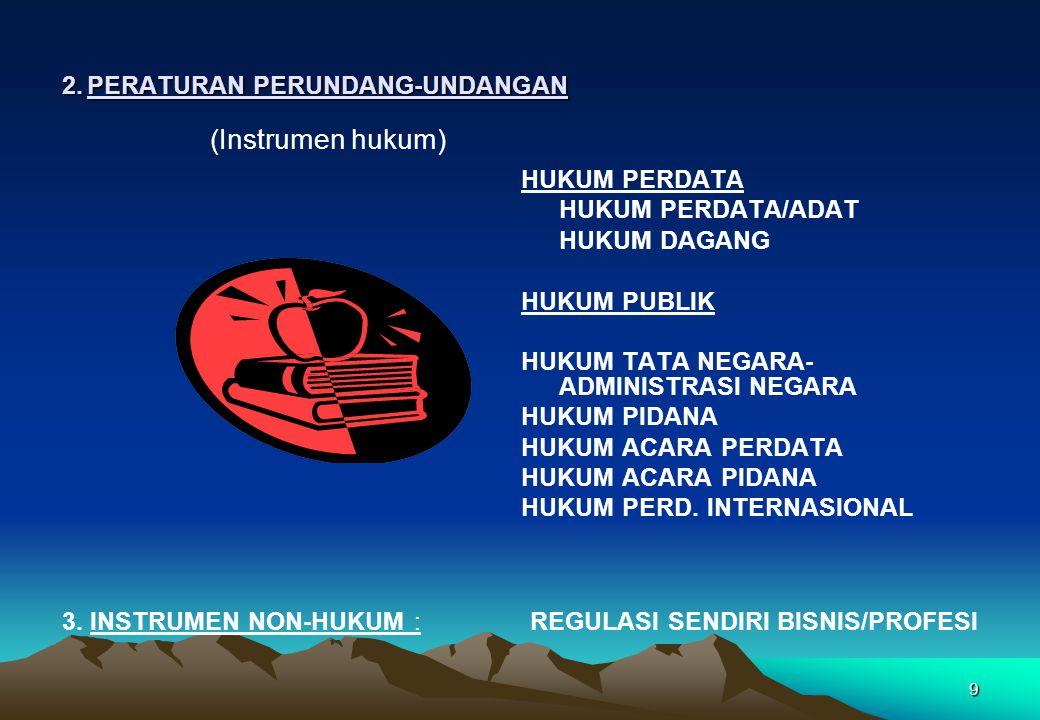 2.PERATURAN PERUNDANG-UNDANGAN (Instrumen hukum) HUKUM PERDATA HUKUM PERDATA/ADAT HUKUM DAGANG HUKUM PUBLIK HUKUM TATA NEGARA- ADMINISTRASI NEGARA HUK