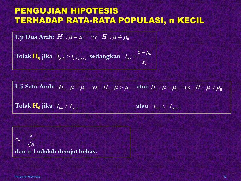 Pengujian Hipothesis12 PENGUJIAN HIPOTESIS TERHADAP RATA-RATA POPULASI, n KECIL Uji Dua Arah: Tolak H 0 jika sedangkan Uji Satu Arah: atau Tolak H 0 j