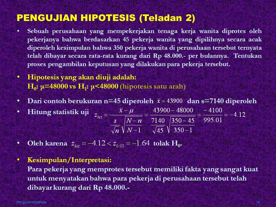 Pengujian Hipothesis15 PENGUJIAN HIPOTESIS (Teladan 2) •Sebuah perusahaan yang mempekerjakan tenaga kerja wanita diprotes oleh pekerjanya bahwa berdas