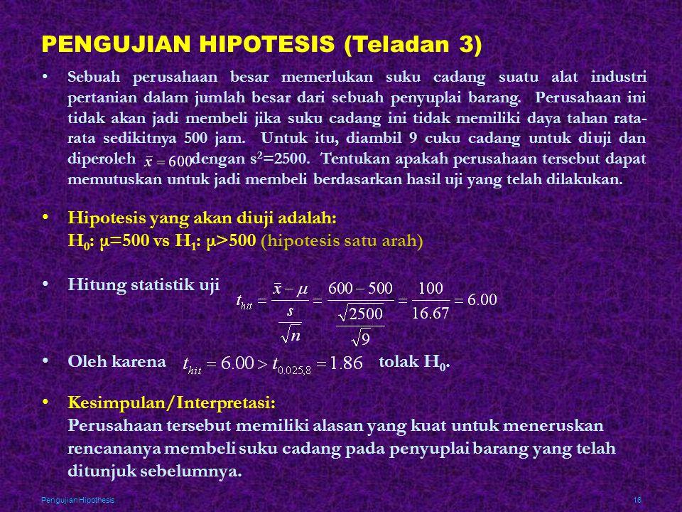 Pengujian Hipothesis16 PENGUJIAN HIPOTESIS (Teladan 3) •Sebuah perusahaan besar memerlukan suku cadang suatu alat industri pertanian dalam jumlah besa