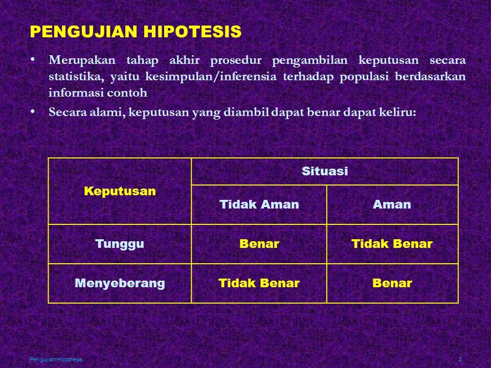 Pengujian Hipothesis3 PENGUJIAN HIPOTESIS Keputusan Situasi Proses Terkendali Proses Tidak Terkendali Teruskan ProduksiBenarError (Tipe II) Hentikan ProduksiError (Tipe I)Benar Keputusan Situasi H 0 Benar atau H 1 Keliru H 0 Tidak Benar atau H 1 Benar Gagal Tolak H 0 atau Tolak H 1 Benarβ Tolak H 0 atau Terima H 1 αBenar