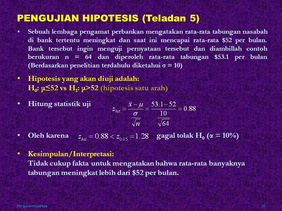 Pengujian Hipothesis20 PENGUJIAN HIPOTESIS (Teladan 5) •Sebuah lembaga pengamat perbankan mengatakan rata-rata tabungan nasabah di bank tertentu menin