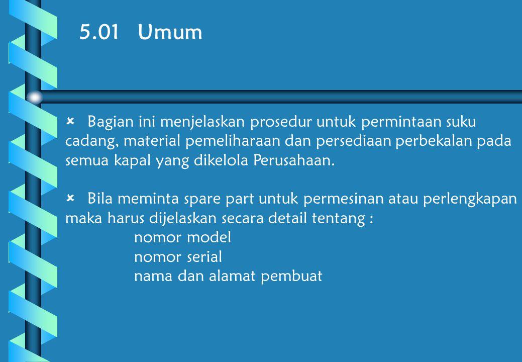 5.02 Tanggung jawab  MASTER harus memastikan bahwa semua permintaan telah melalui prosedur yang telah ditetapkan.