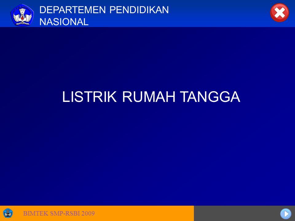 Sosialisasi KTSP DEPARTEMEN PENDIDIKAN NASIONAL LISTRIK RUMAH TANGGA BIMTEK SMP-RSBI 2009