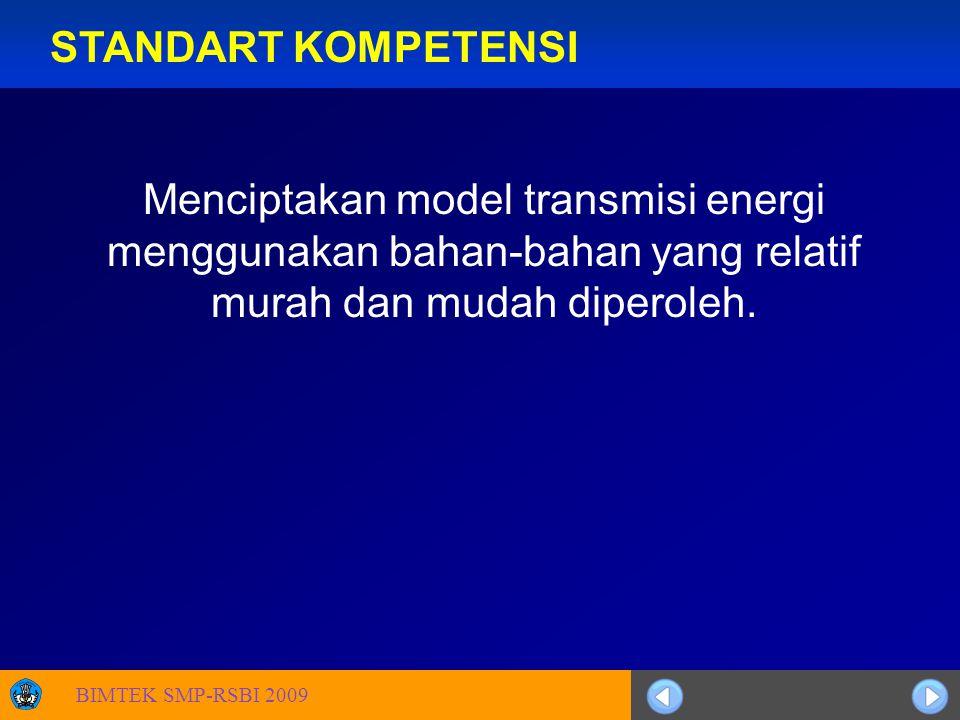 Sosialisasi KTSP STANDART KOMPETENSI Menciptakan model transmisi energi menggunakan bahan-bahan yang relatif murah dan mudah diperoleh.