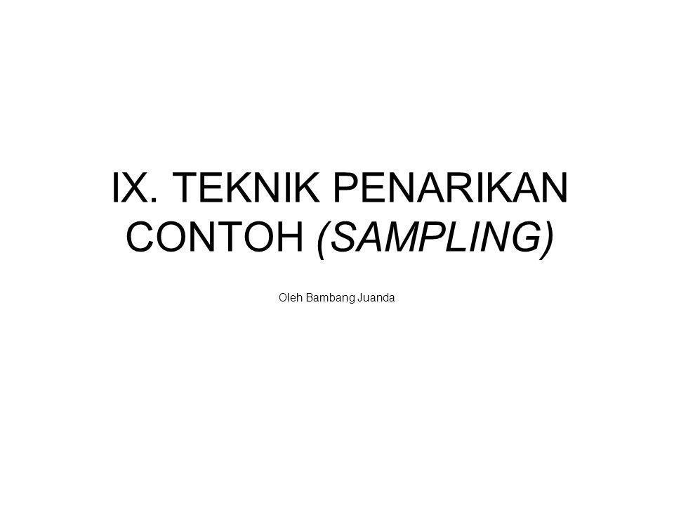 IX. TEKNIK PENARIKAN CONTOH (SAMPLING) Oleh Bambang Juanda