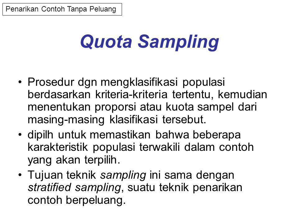 Quota Sampling •Prosedur dgn mengklasifikasi populasi berdasarkan kriteria-kriteria tertentu, kemudian menentukan proporsi atau kuota sampel dari masing-masing klasifikasi tersebut.