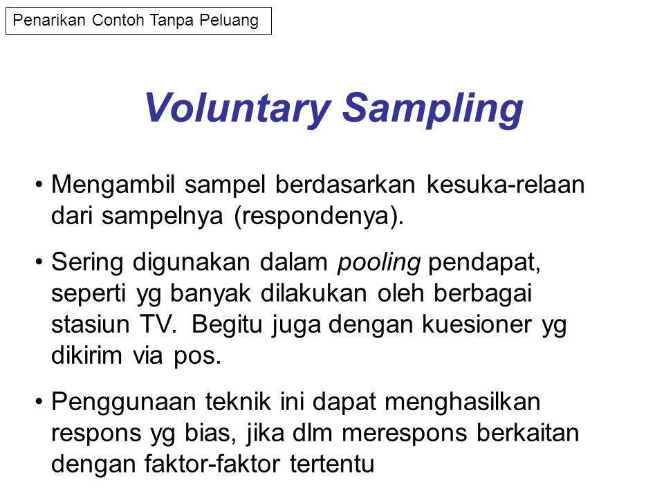 Voluntary Sampling •Mengambil sampel berdasarkan kesuka-relaan dari sampelnya (respondenya).