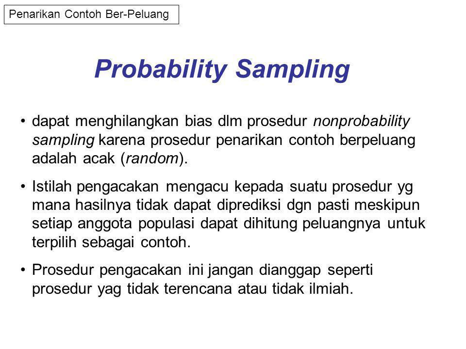 Probability Sampling Penarikan Contoh Ber-Peluang •dapat menghilangkan bias dlm prosedur nonprobability sampling karena prosedur penarikan contoh berpeluang adalah acak (random).