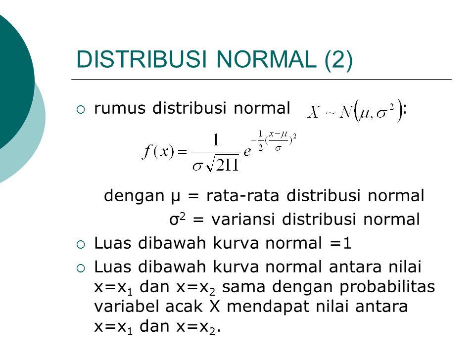 DISTRIBUSI NORMAL (2)  rumus distribusi normal : dengan μ = rata-rata distribusi normal σ 2 = variansi distribusi normal  Luas dibawah kurva normal