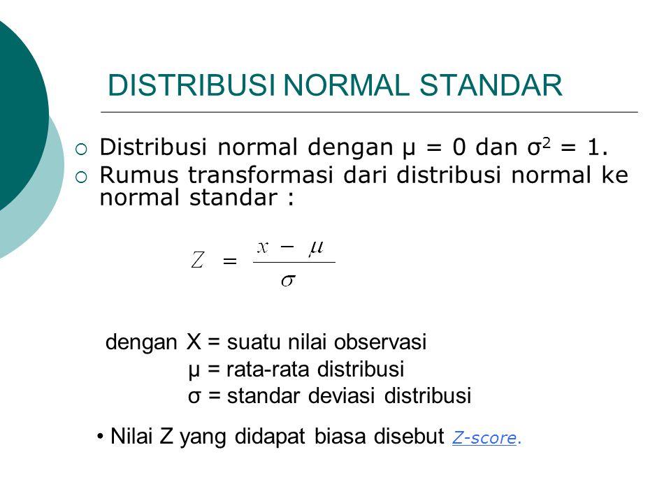 DISTRIBUSI NORMAL STANDAR  Distribusi normal dengan μ = 0 dan σ 2 = 1.  Rumus transformasi dari distribusi normal ke normal standar : dengan X = sua