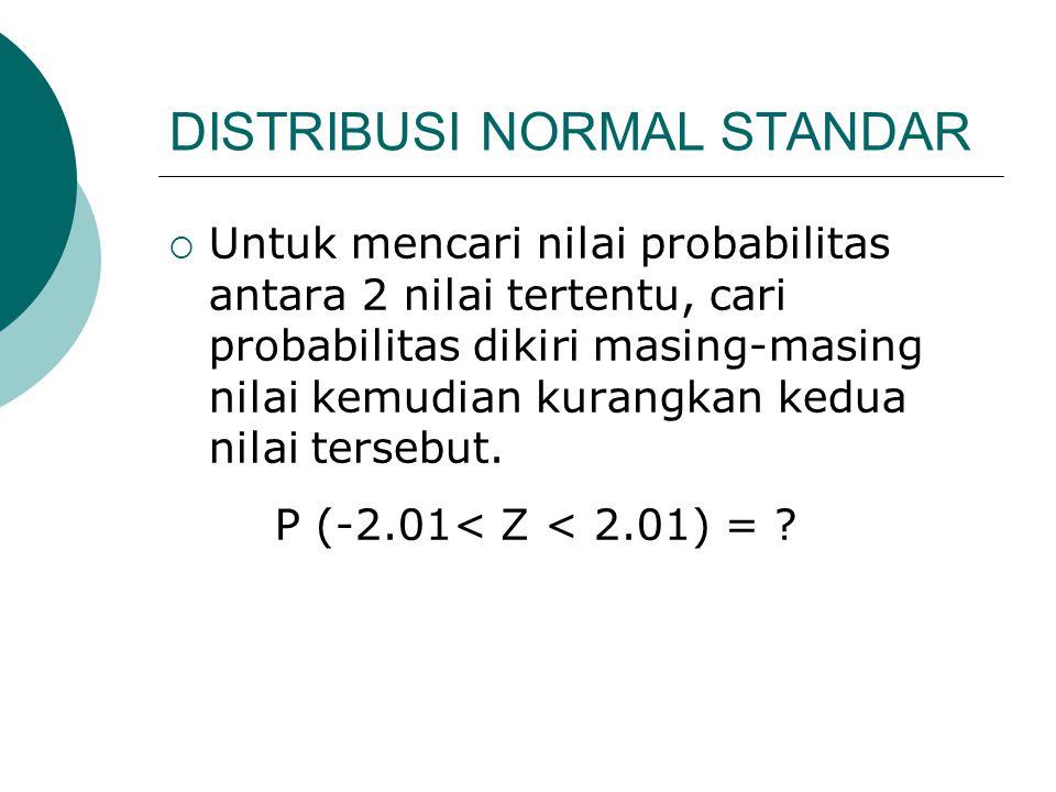 DISTRIBUSI NORMAL STANDAR  Untuk mencari nilai probabilitas antara 2 nilai tertentu, cari probabilitas dikiri masing-masing nilai kemudian kurangkan