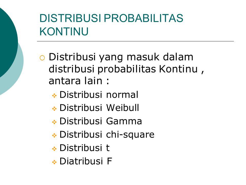 DISTRIBUSI PROBABILITAS KONTINU  Distribusi yang masuk dalam distribusi probabilitas Kontinu, antara lain :  Distribusi normal  Distribusi Weibull