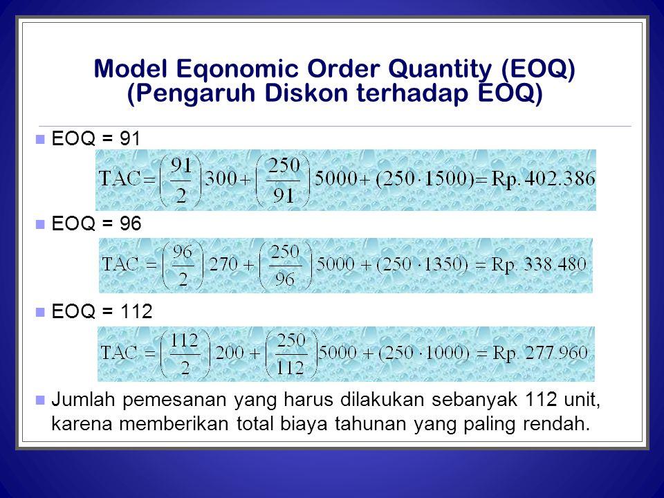 Model Eqonomic Order Quantity (EOQ) (Pengaruh Diskon terhadap EOQ)  EOQ = 91  EOQ = 96  EOQ = 112  Jumlah pemesanan yang harus dilakukan sebanyak