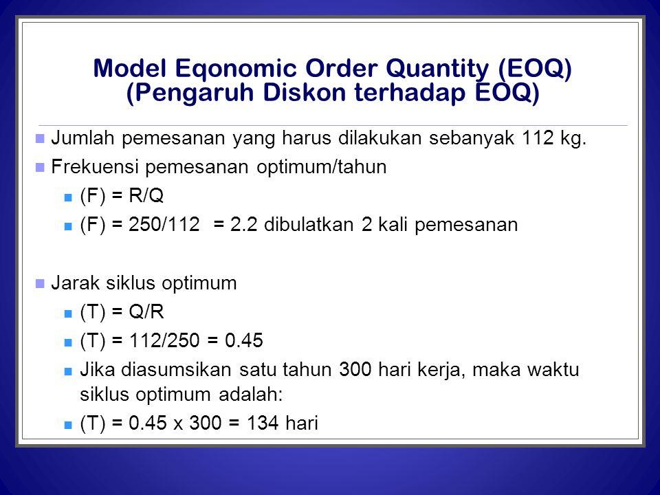 Model Eqonomic Order Quantity (EOQ) (Pengaruh Diskon terhadap EOQ)  Jumlah pemesanan yang harus dilakukan sebanyak 112 kg.  Frekuensi pemesanan opti