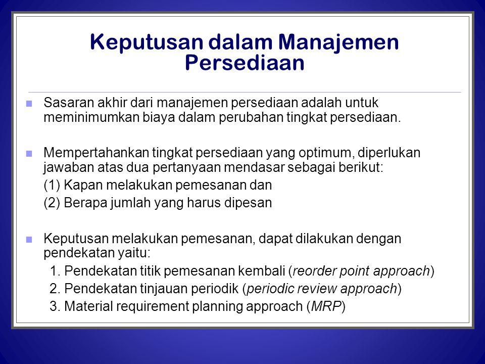 Keputusan dalam Manajemen Persediaan  Sasaran akhir dari manajemen persediaan adalah untuk meminimumkan biaya dalam perubahan tingkat persediaan.  M