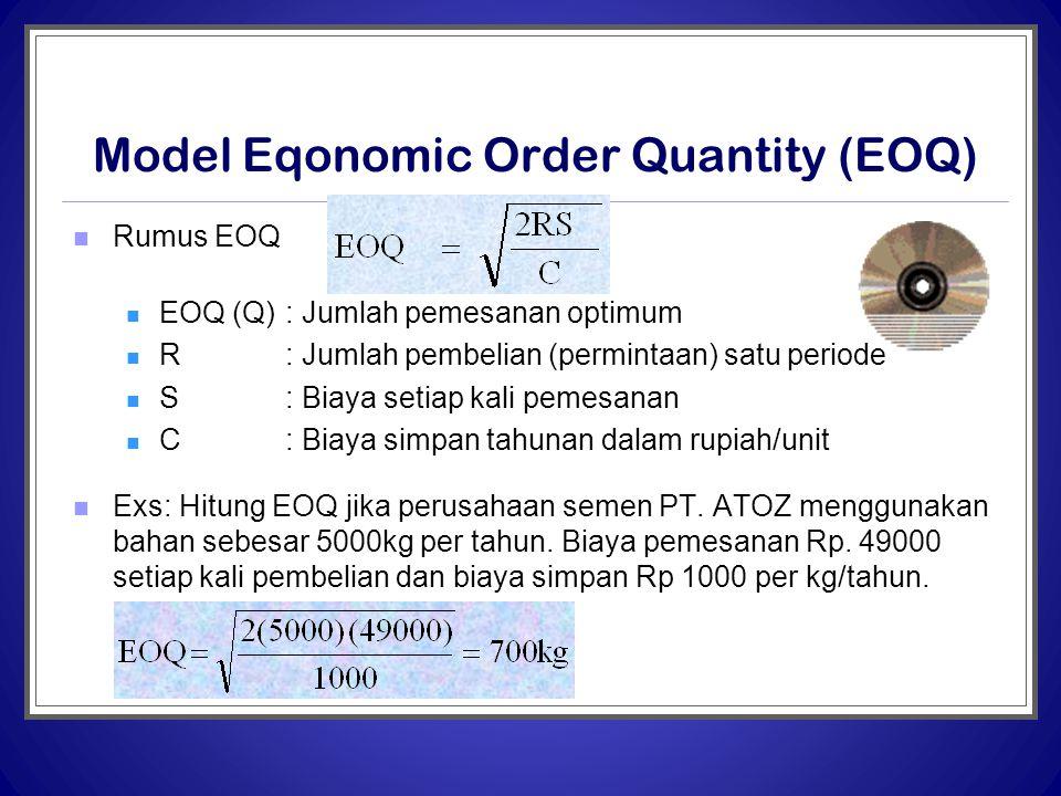 Model Eqonomic Order Quantity (EOQ)  Rumus EOQ  EOQ (Q) : Jumlah pemesanan optimum  R: Jumlah pembelian (permintaan) satu periode  S: Biaya setiap