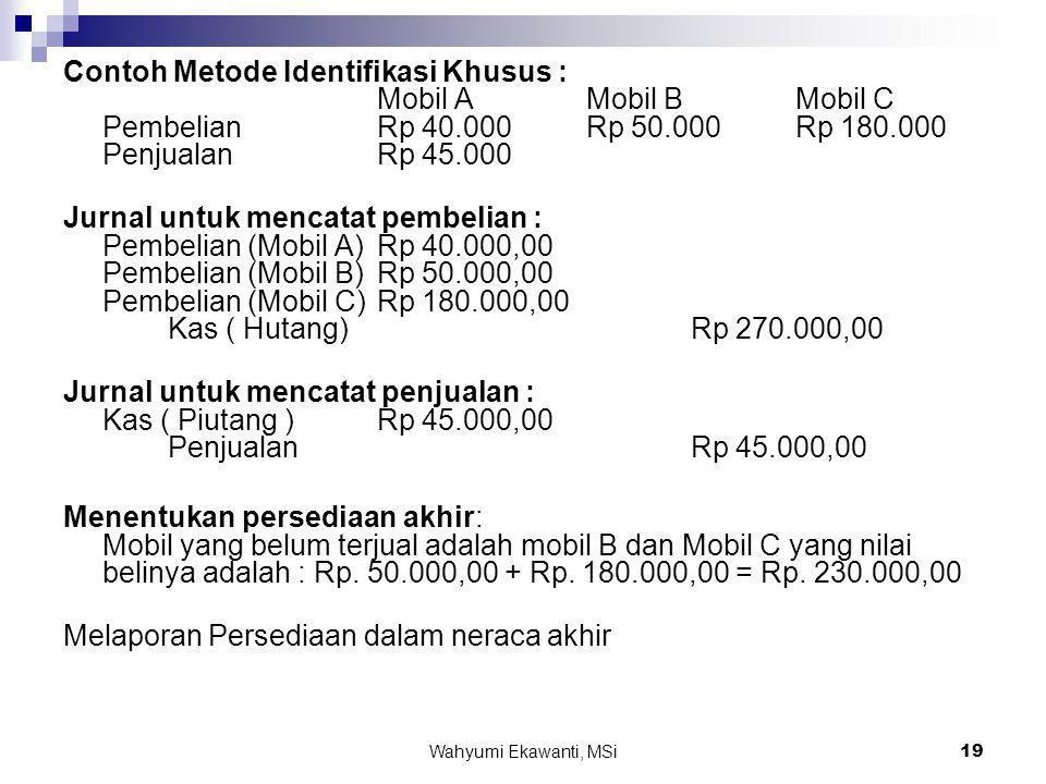 Wahyumi Ekawanti, MSi19 Contoh Metode Identifikasi Khusus : Mobil A Mobil B Mobil C Pembelian Rp 40.000 Rp 50.000 Rp 180.000 Penjualan Rp 45.000 Jurna