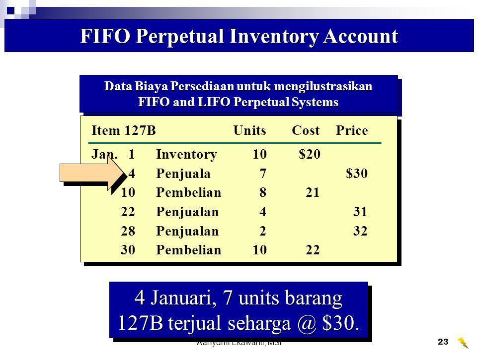 Wahyumi Ekawanti, MSi24 Item 127B FIFO Perpetual Inventory Account PembelianHarga Pokok PenjualanSaldo Persediaan UnitTotalUnitTotalUnitTotal Date Qty.Cost Cost Qty.CostCost Qty.CostCost Penjualan 7 units menyisakan saldo 3 units.