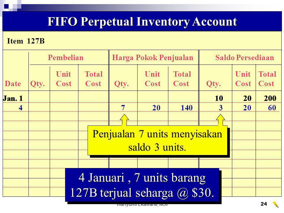 Wahyumi Ekawanti, MSi25 Data Biaya Persediaan untuk mengilustrasikan FIFO and LIFO Perpetual Systems Data Biaya Persediaan untuk mengilustrasikan FIFO and LIFO Perpetual Systems Cost of Mdse.