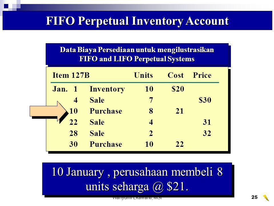 Wahyumi Ekawanti, MSi26 Item 127B FIFO Perpetual Inventory Account PembelianHarga Pokok PenjualanSaldo Persediaan UnitTotalUnitTotalUnitTotal Date Qty.Cost Cost Qty.CostCost Qty.CostCost Jan.