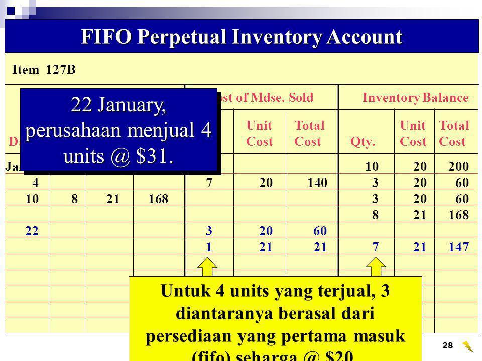 Wahyumi Ekawanti, MSi29 FIFO Perpetual Inventory Account 28 Januari, perusahaan menjual 2 units @ $32.