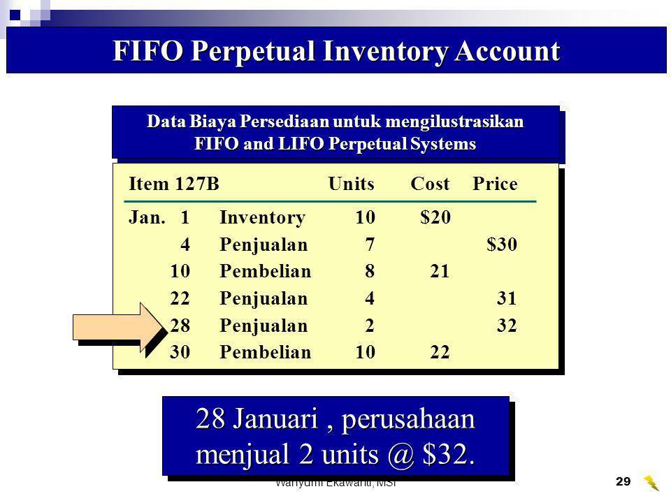 Wahyumi Ekawanti, MSi29 FIFO Perpetual Inventory Account 28 Januari, perusahaan menjual 2 units @ $32. Data Biaya Persediaan untuk mengilustrasikan FI