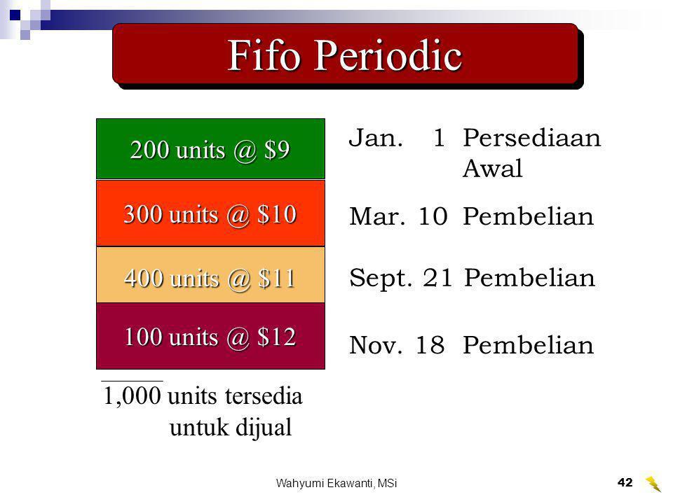 Wahyumi Ekawanti, MSi43 Fifo Periodic 200 units @ $9 300 units @ $10 400 units @ $11 100 units @ $12 1,000 units tersedia untuk dijual $10,400 =$1,800Jan.