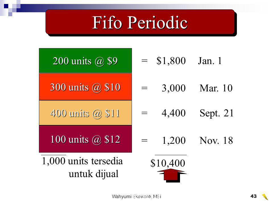 Wahyumi Ekawanti, MSi43 Fifo Periodic 200 units @ $9 300 units @ $10 400 units @ $11 100 units @ $12 1,000 units tersedia untuk dijual $10,400 =$1,800