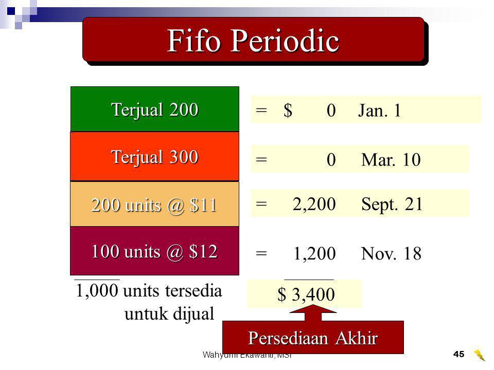 Wahyumi Ekawanti, MSi45 Fifo Periodic 200 units @ $9 300 units @ $10 400 units @ $11 100 units @ $12 1,000 units tersedia untuk dijual $10,400 =$1,800