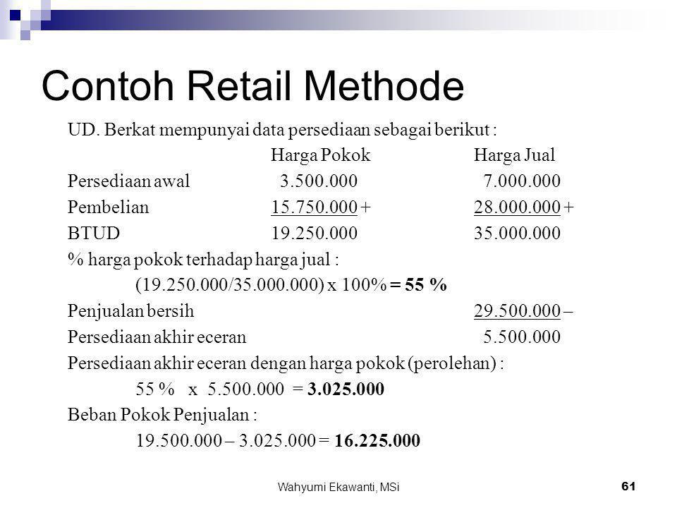 Wahyumi Ekawanti, MSi61 Contoh Retail Methode UD. Berkat mempunyai data persediaan sebagai berikut : Harga Pokok Harga Jual Persediaan awal 3.500.000