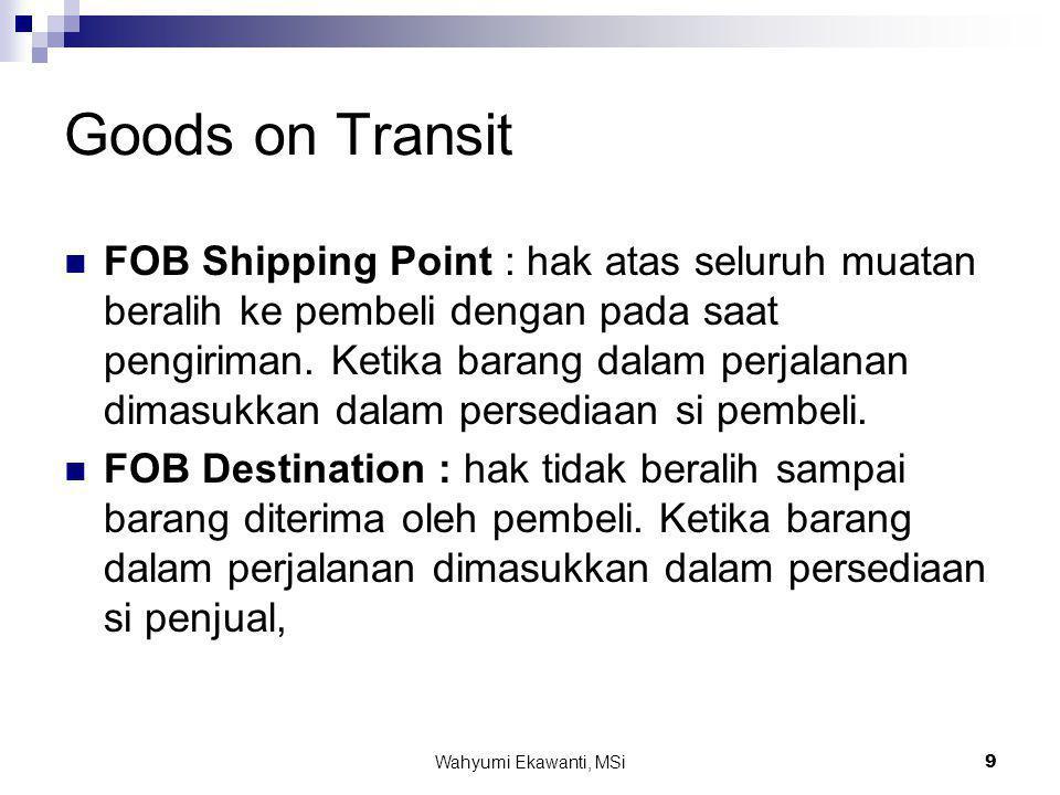 Wahyumi Ekawanti, MSi9 Goods on Transit  FOB Shipping Point : hak atas seluruh muatan beralih ke pembeli dengan pada saat pengiriman. Ketika barang d
