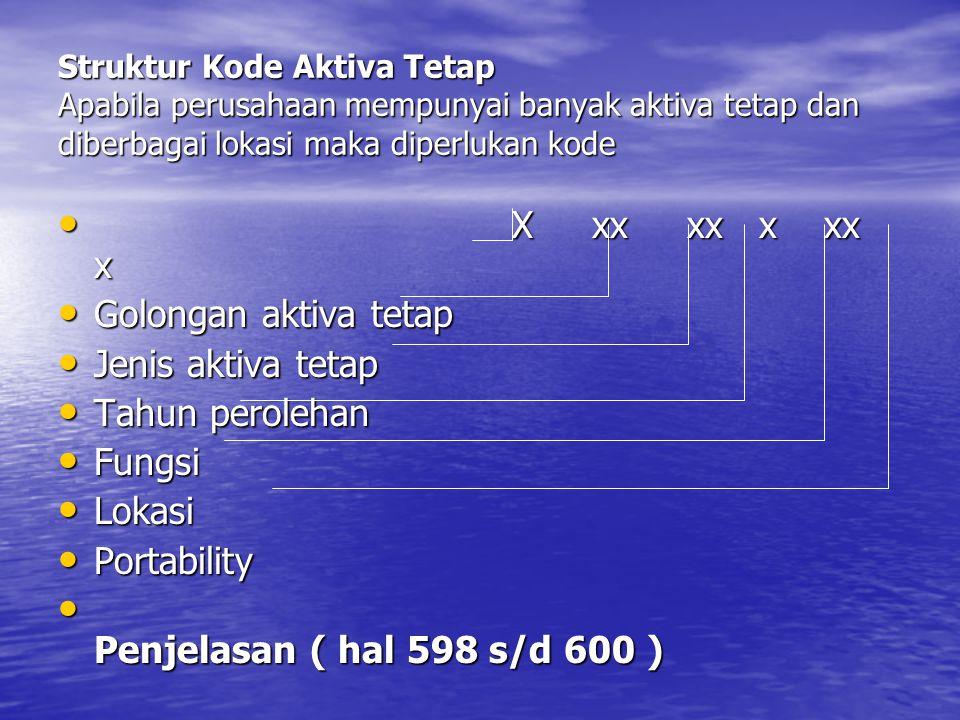 Struktur Kode Aktiva Tetap Apabila perusahaan mempunyai banyak aktiva tetap dan diberbagai lokasi maka diperlukan kode • X xx xx x xx x • Golongan aktiva tetap • Jenis aktiva tetap • Tahun perolehan • Fungsi • Lokasi • Portability • Penjelasan ( hal 598 s/d 600 )