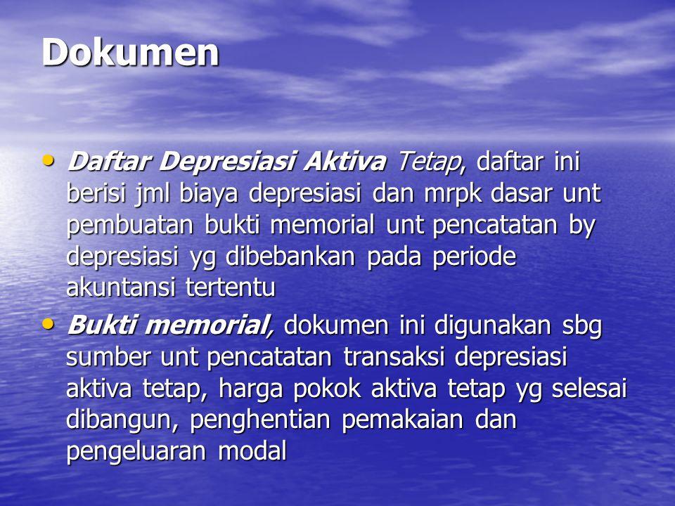Dokumen • Daftar Depresiasi Aktiva Tetap, daftar ini berisi jml biaya depresiasi dan mrpk dasar unt pembuatan bukti memorial unt pencatatan by depresi