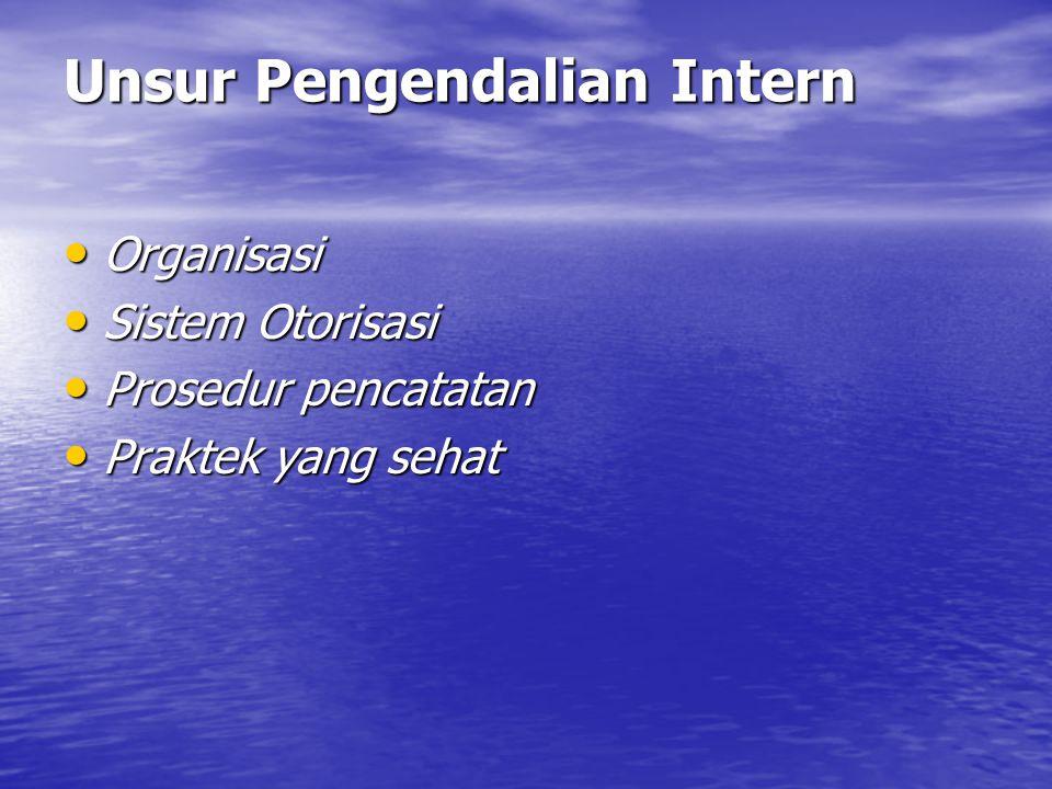 Unsur Pengendalian Intern • Organisasi • Sistem Otorisasi • Prosedur pencatatan • Praktek yang sehat