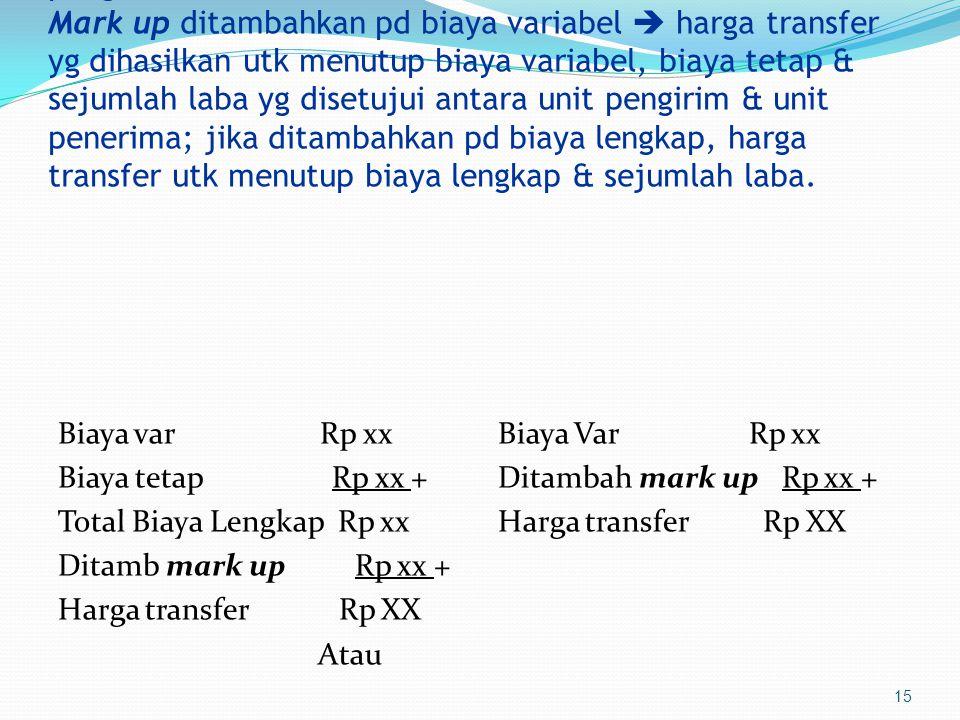 15 Metode Penentuan Harga Transfer  Cost plus a markup  digunakan jika tdk tdpt harga pasar dr produk yg ditransfer  mark up sebesar ROI unit pengirim.