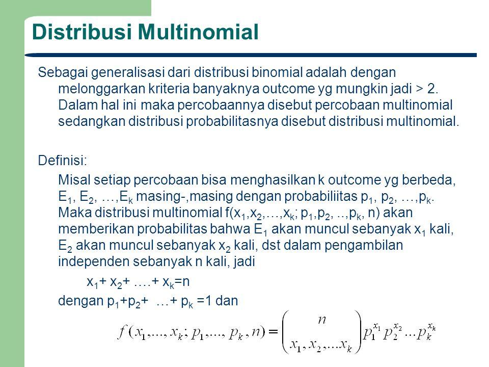 Distribusi Multinomial Sebagai generalisasi dari distribusi binomial adalah dengan melonggarkan kriteria banyaknya outcome yg mungkin jadi > 2. Dalam