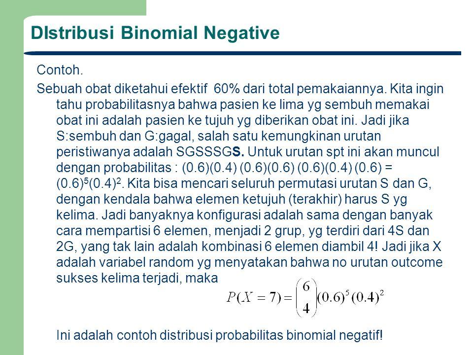 DIstribusi Binomial Negative Contoh. Sebuah obat diketahui efektif 60% dari total pemakaiannya. Kita ingin tahu probabilitasnya bahwa pasien ke lima y